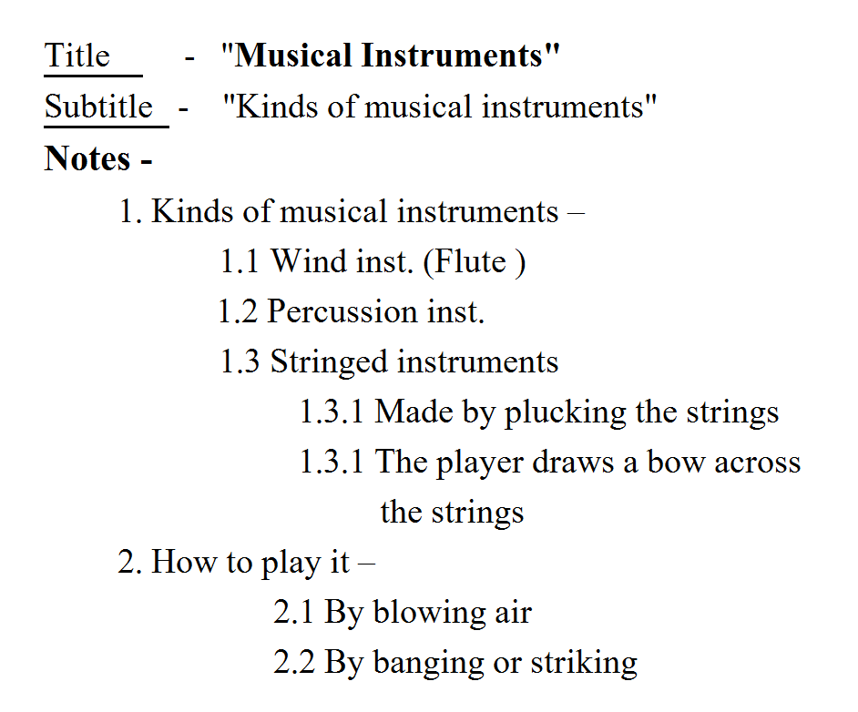 note making format