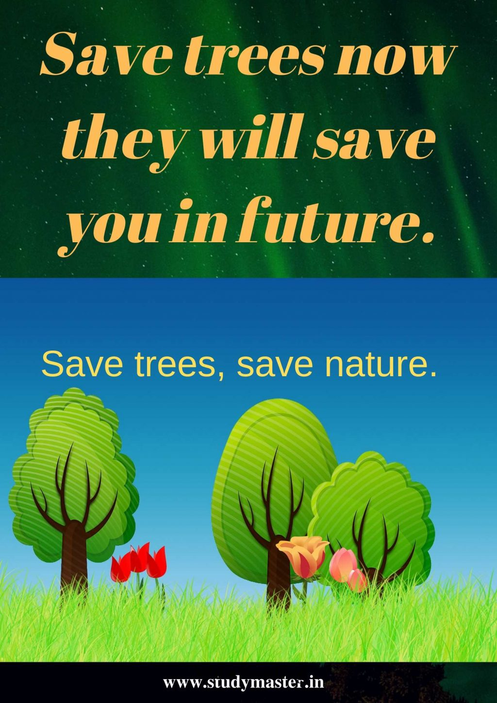 poster making on save trees save earth